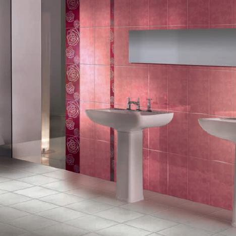 Sase combinatii moderne de gresie si faianta in rosu cu alb - Poza 1