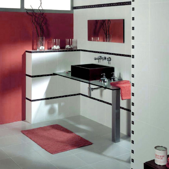 Sase combinatii moderne de gresie si faianta in rosu cu alb - Poza 6