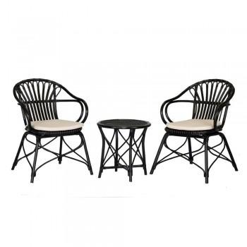 Set 2 scaune și măsuță din ratan