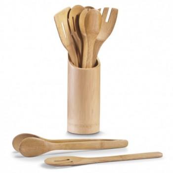 Set ustensile de bucătărie și suport din bambus, Bamboo Natural