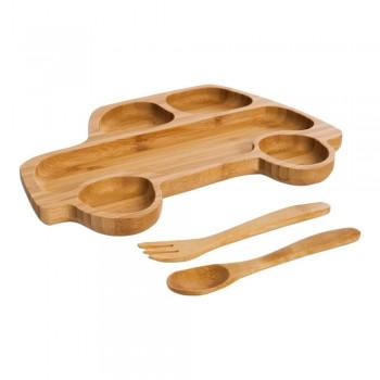 Set pentru copii cu platou și tacâmuri din lemn Bambum Truck